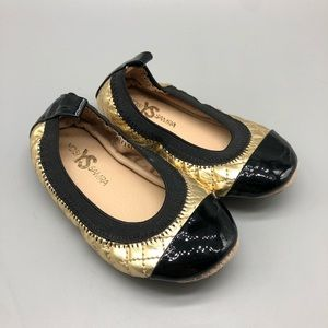 New! Yosi Samra Scarlet black gold quilted flats